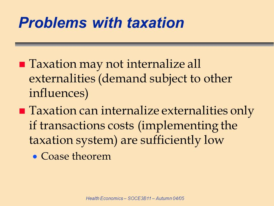 Problems with taxation