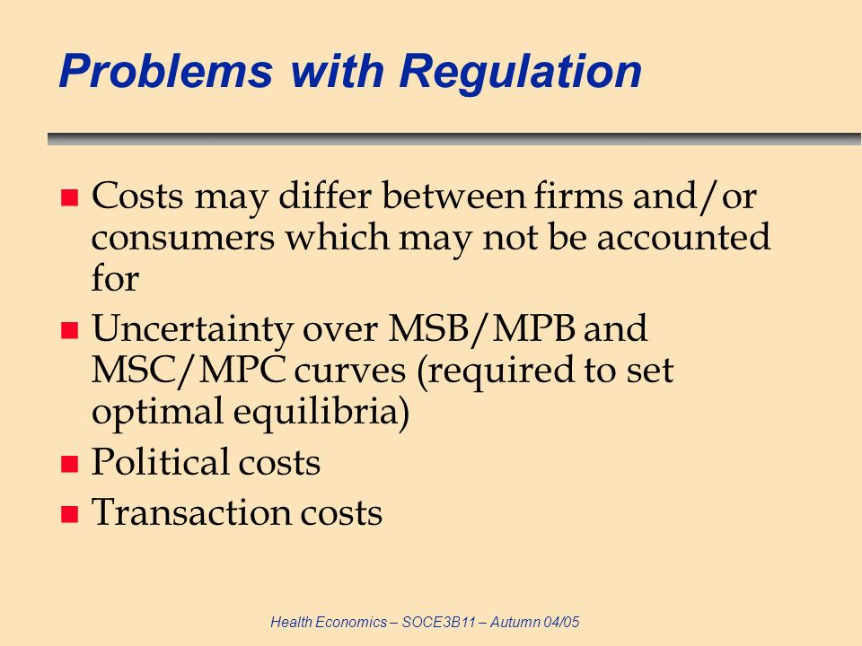 Problems with Regulation
