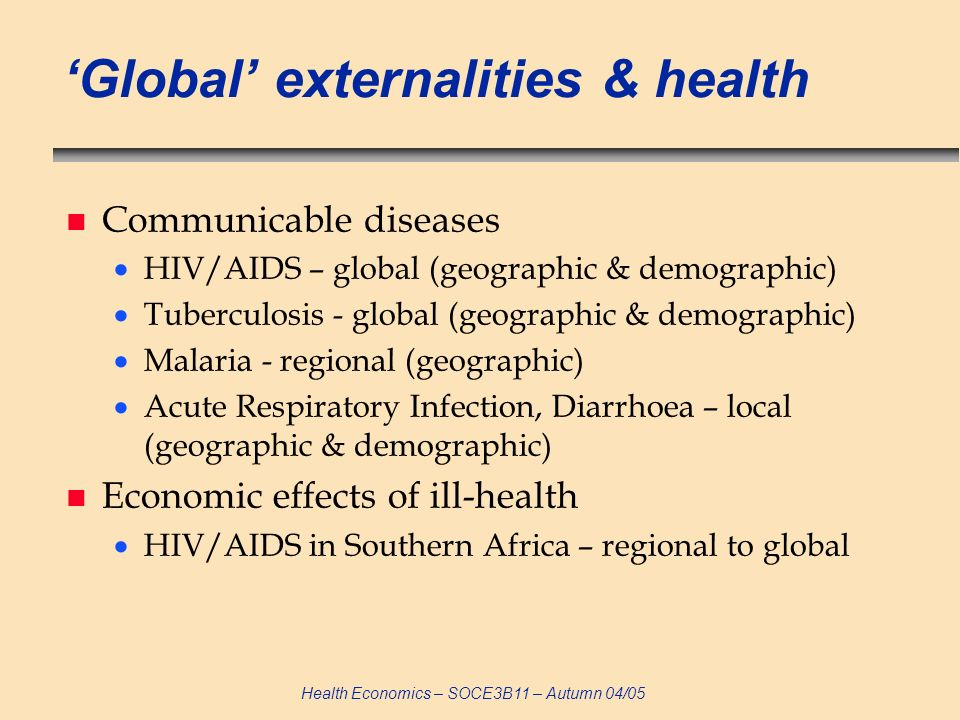 'Global' externalities & health
