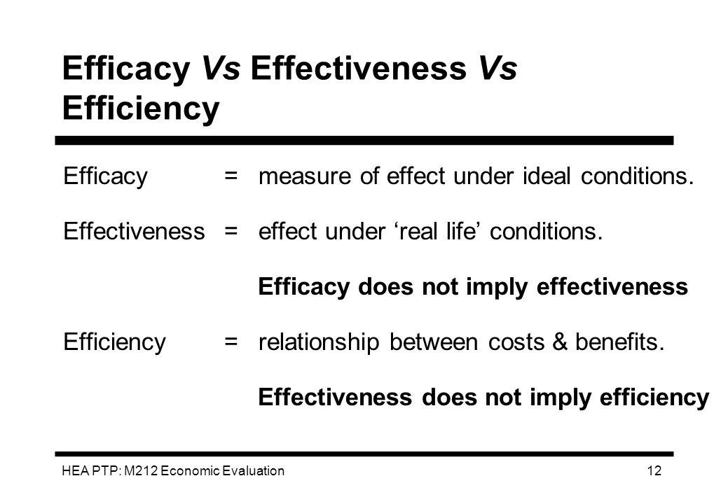 Efficacy Vs Effectiveness Vs Efficiency