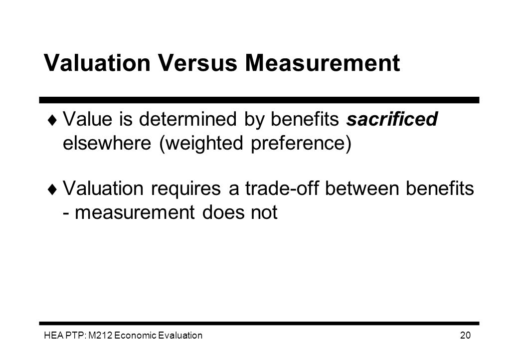Valuation Versus Measurement