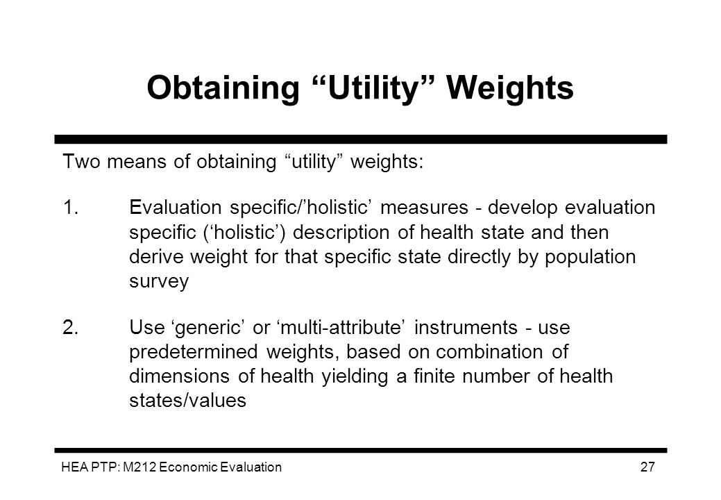 Obtaining Utility Weights
