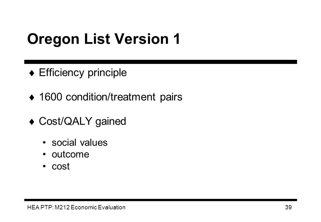 Oregon List Version 1 Efficiency principle