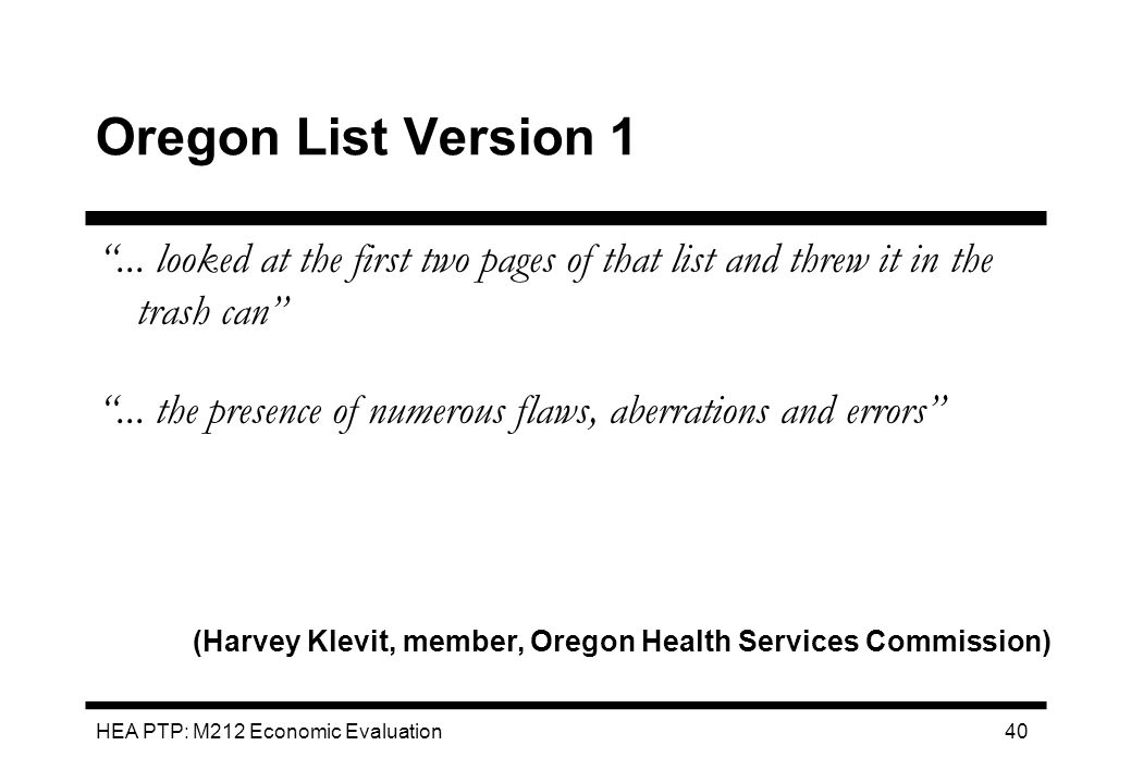 Oregon List Version 1 ... looked at the first two pages of that list and threw it in the trash can
