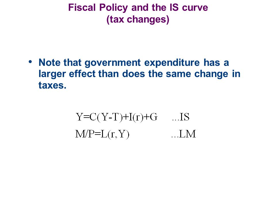 Fiscal Policy and the IS curve (tax changes)