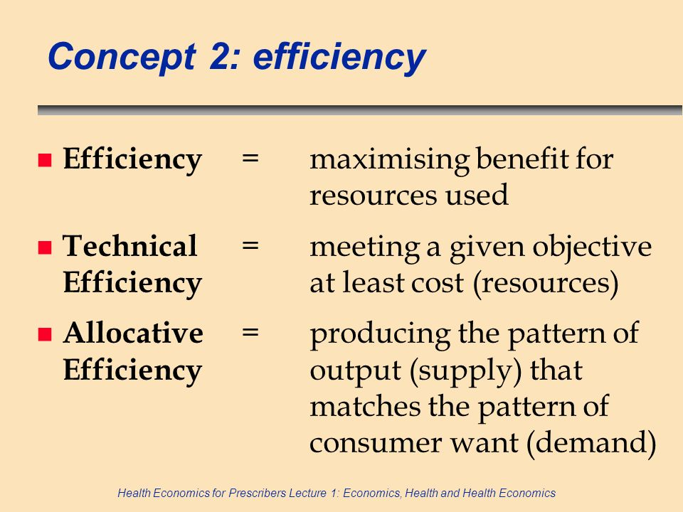 Concept 2: efficiency Efficiency = maximising benefit for resources used.