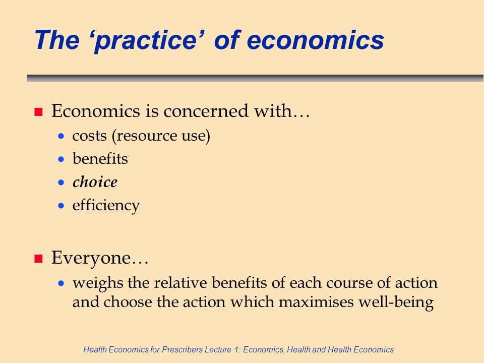 The 'practice' of economics