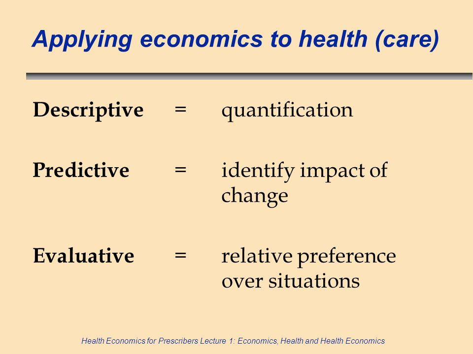 Applying economics to health (care)