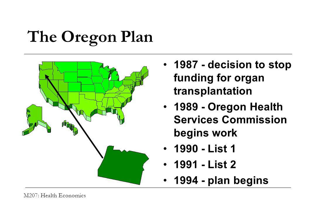 The Oregon Plan 1987 - decision to stop funding for organ transplantation. 1989 - Oregon Health Services Commission begins work.