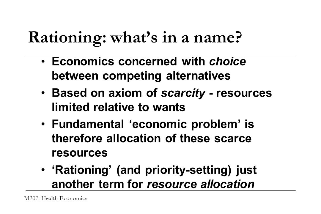 Rationing: what's in a name