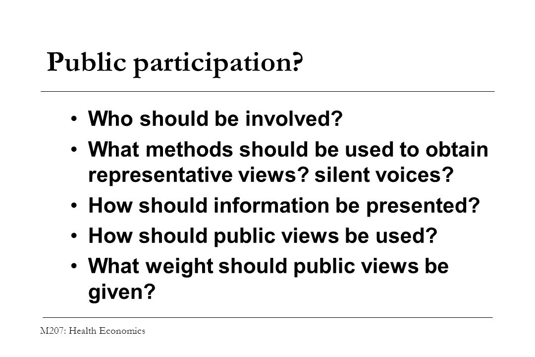 Public participation Who should be involved