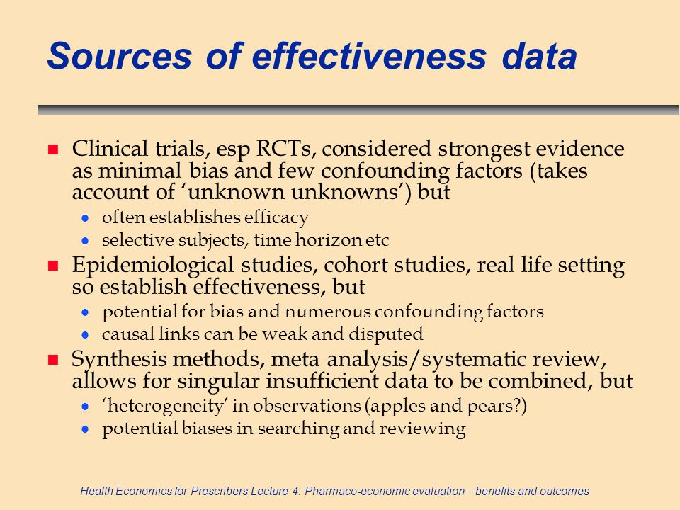 Sources of effectiveness data