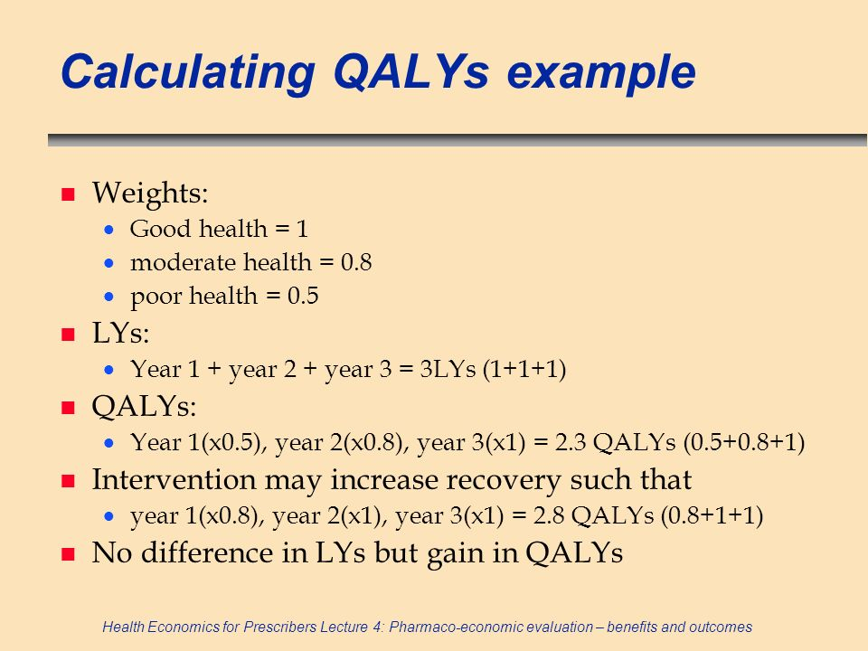 Calculating QALYs example