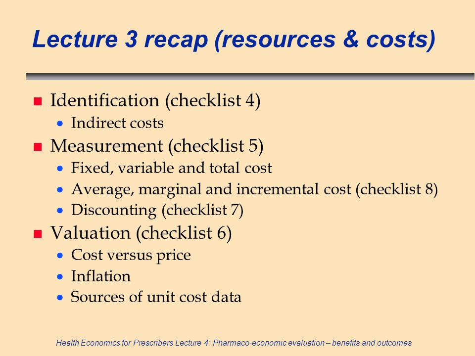 Lecture 3 recap (resources & costs)