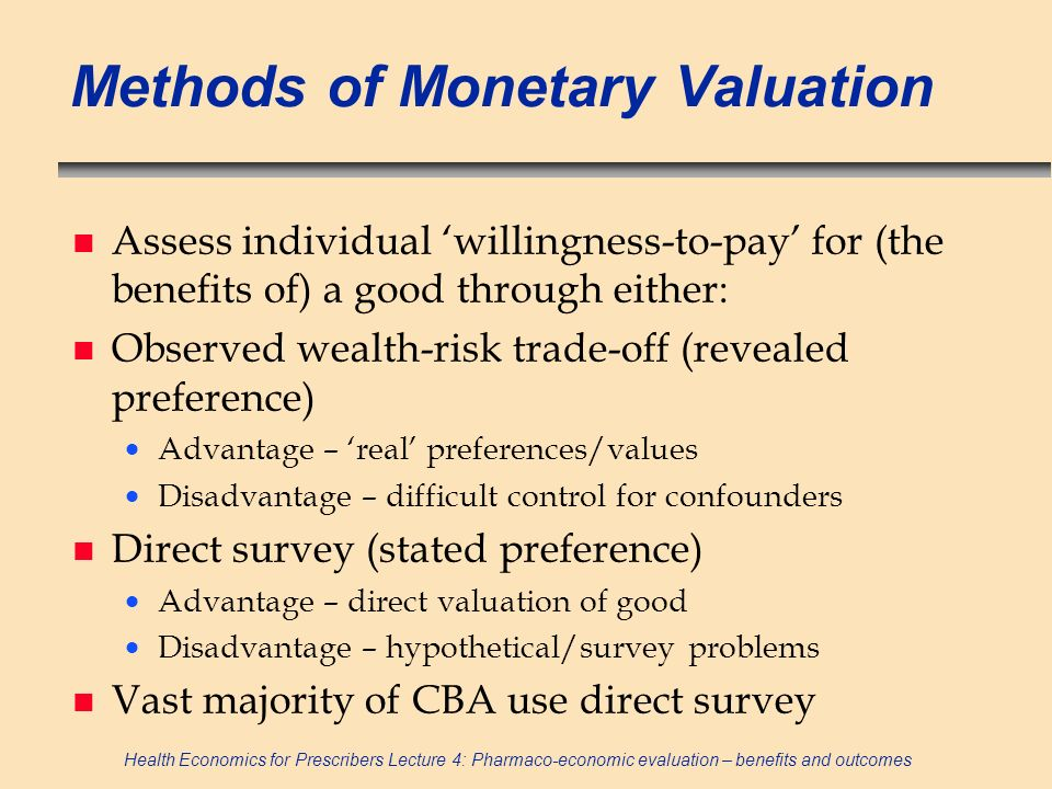 Methods of Monetary Valuation