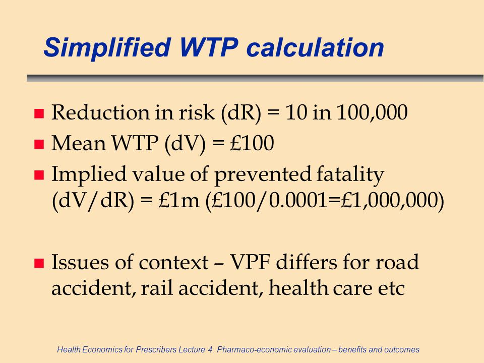 Simplified WTP calculation