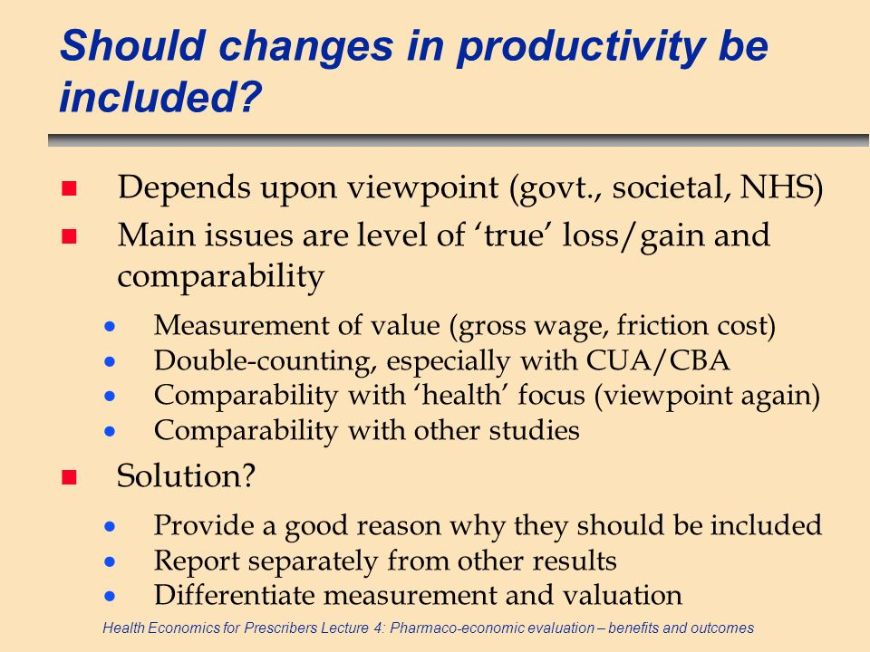 Should changes in productivity be included