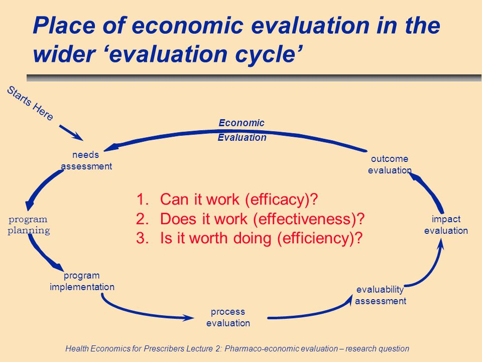 Place of economic evaluation in the wider 'evaluation cycle'