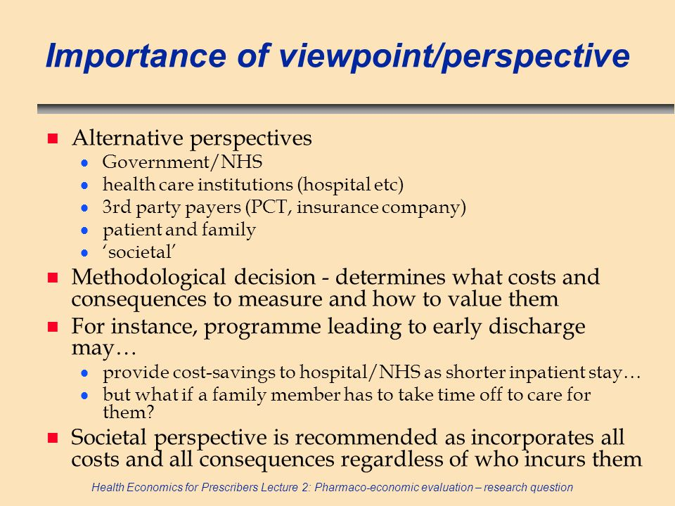 Importance of viewpoint/perspective