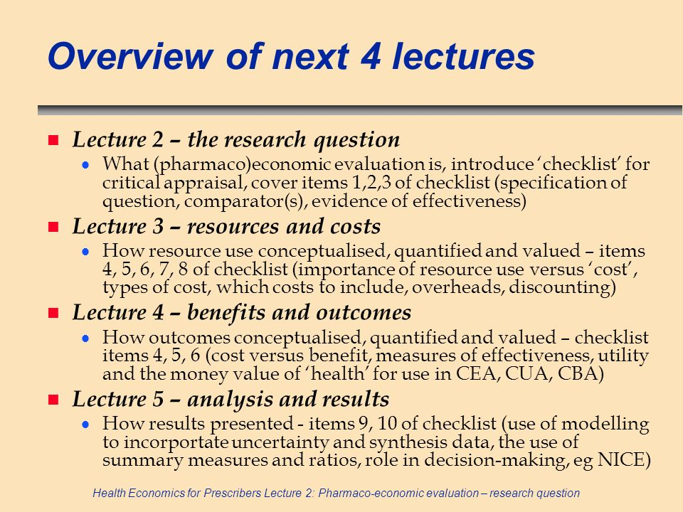 Overview of next 4 lectures