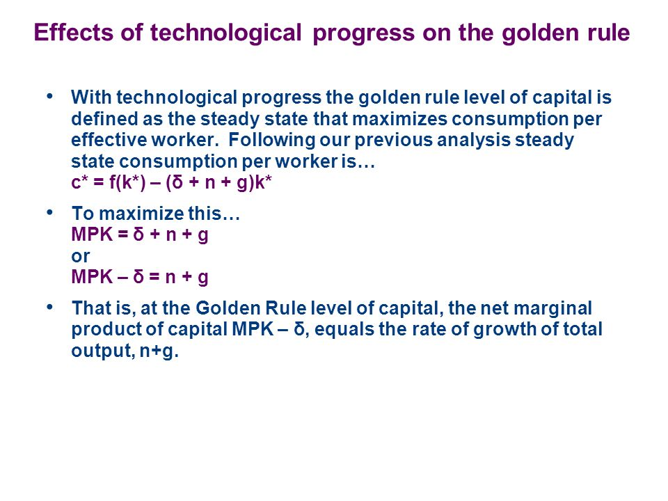 Effects of technological progress on the golden rule