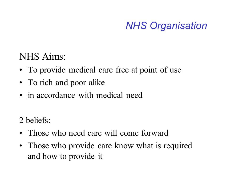 NHS Organisation NHS Aims: