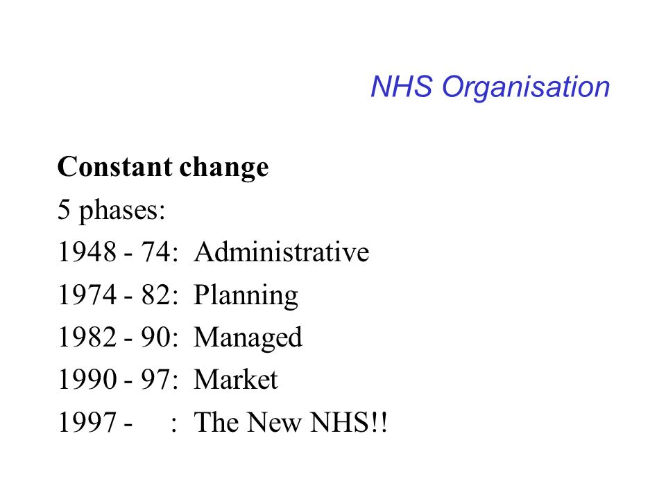 NHS Organisation Constant change. 5 phases: 1948 - 74: Administrative. 1974 - 82: Planning. 1982 - 90: Managed.
