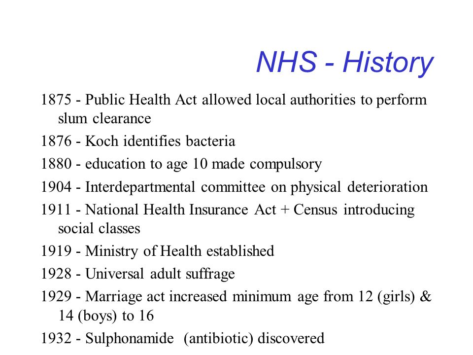 NHS - History 1875 - Public Health Act allowed local authorities to perform slum clearance. 1876 - Koch identifies bacteria.
