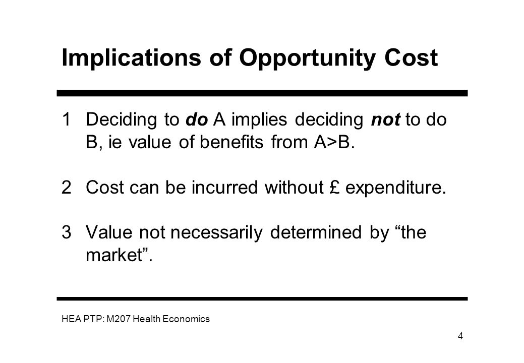 Implications of Opportunity Cost
