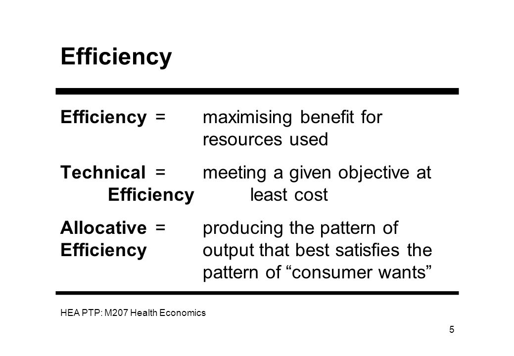 Efficiency Efficiency = maximising benefit for resources used