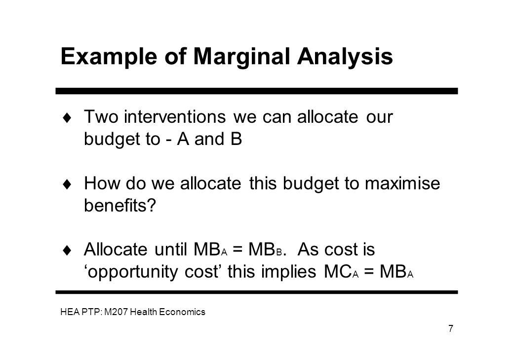 Example of Marginal Analysis