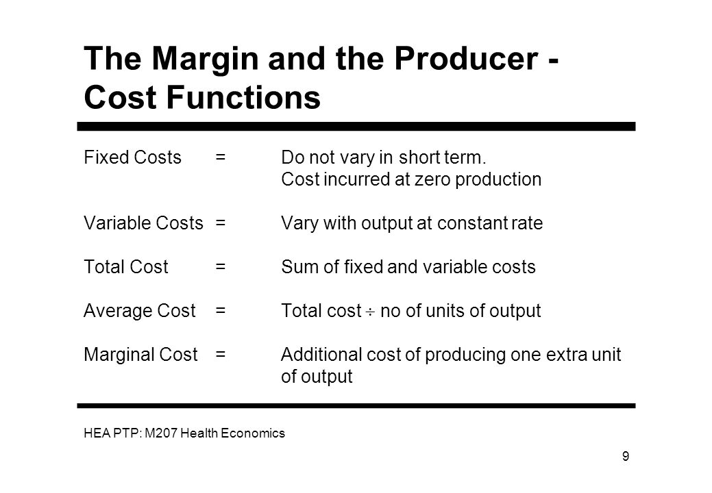 The Margin and the Producer - Cost Functions