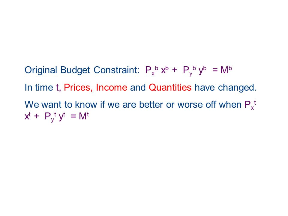 Original Budget Constraint: Pxb xb + Pyb yb = Mb