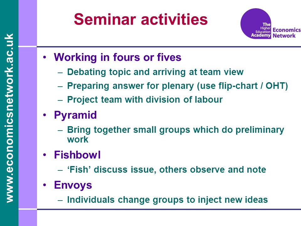 Seminar activities Working in fours or fives Pyramid Fishbowl Envoys
