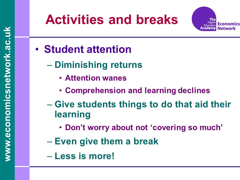 Activities and breaks Student attention Diminishing returns