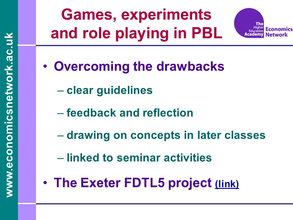 Games, experiments and role playing in PBL