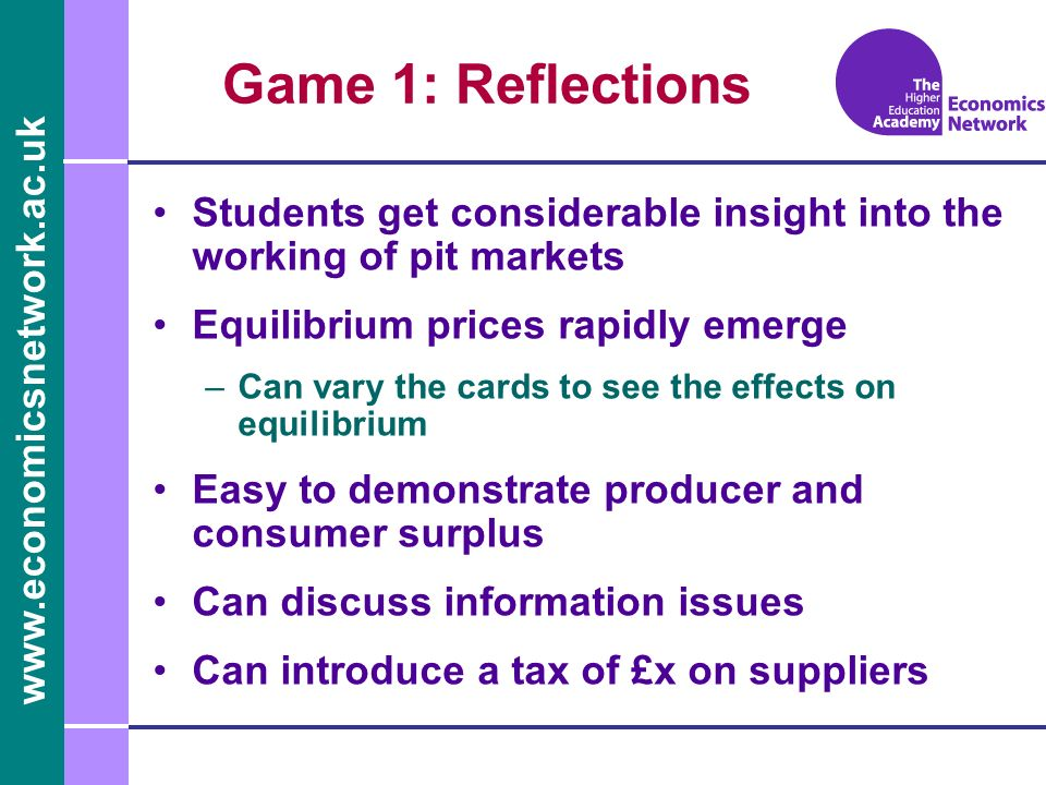 Game 1: Reflections Students get considerable insight into the working of pit markets. Equilibrium prices rapidly emerge.