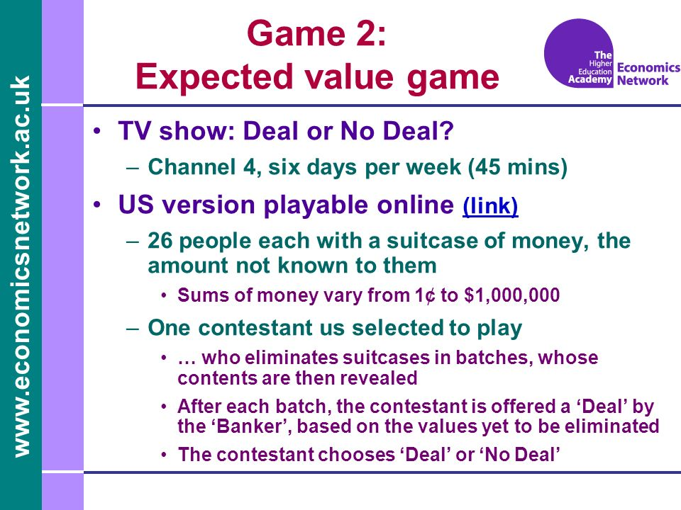 Game 2: Expected value game