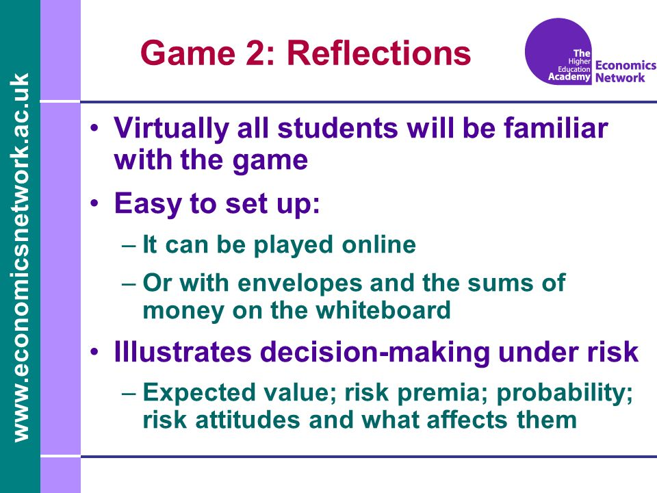 Game 2: Reflections Virtually all students will be familiar with the game. Easy to set up: It can be played online.