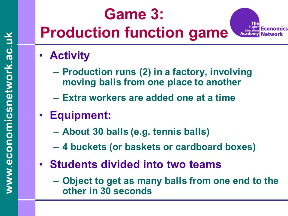 Game 3: Production function game