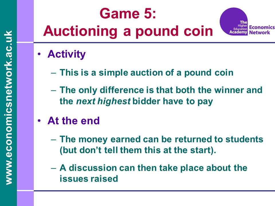 Game 5: Auctioning a pound coin