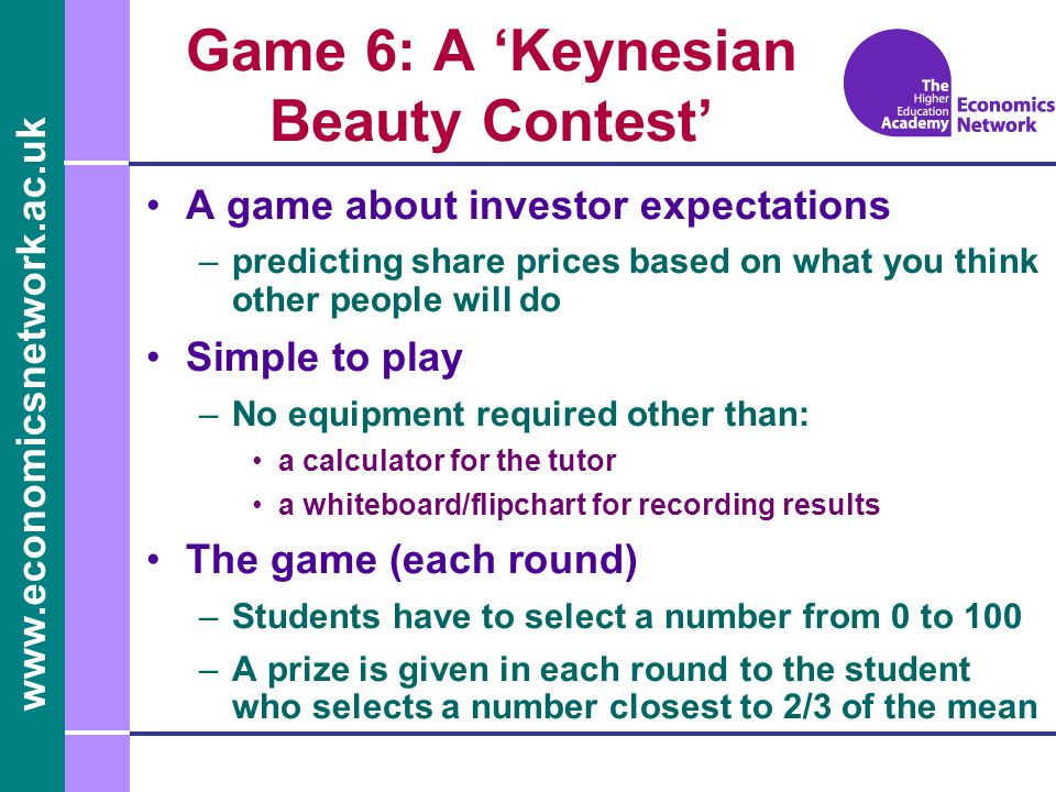 Game 6: A 'Keynesian Beauty Contest'