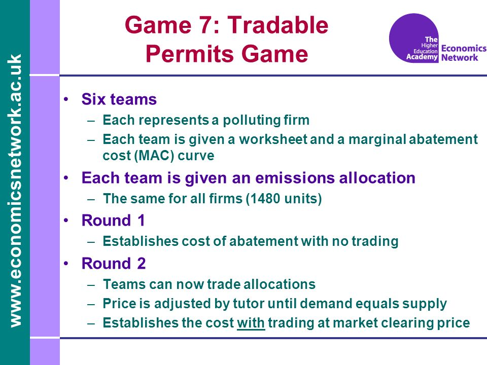 Game 7: Tradable Permits Game