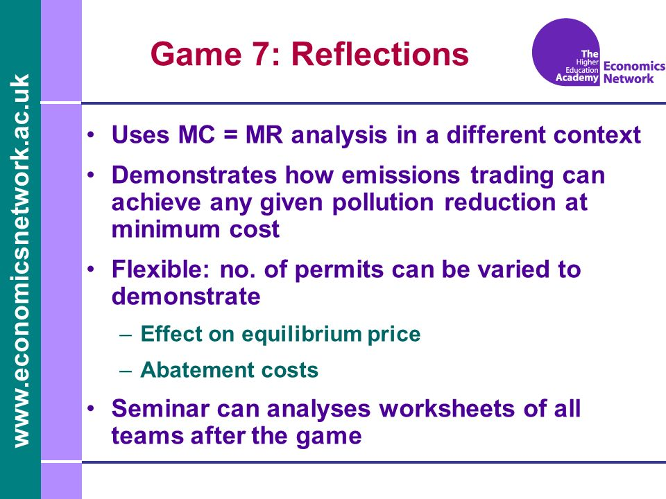 Game 7: Reflections Uses MC = MR analysis in a different context