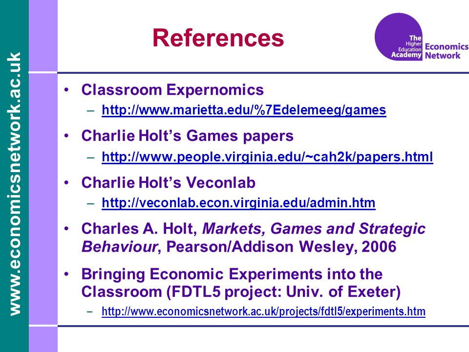 References Classroom Expernomics Charlie Holt's Games papers