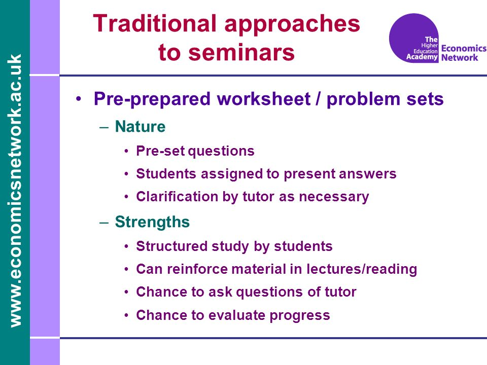 Traditional approaches to seminars