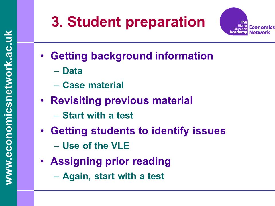 3. Student preparation Getting background information