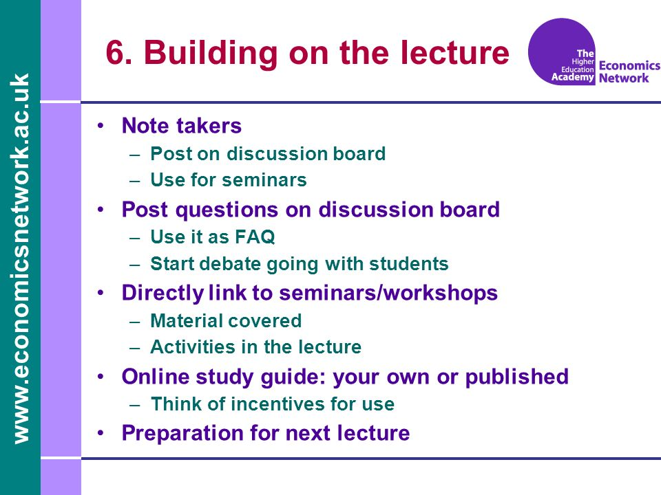 6. Building on the lecture