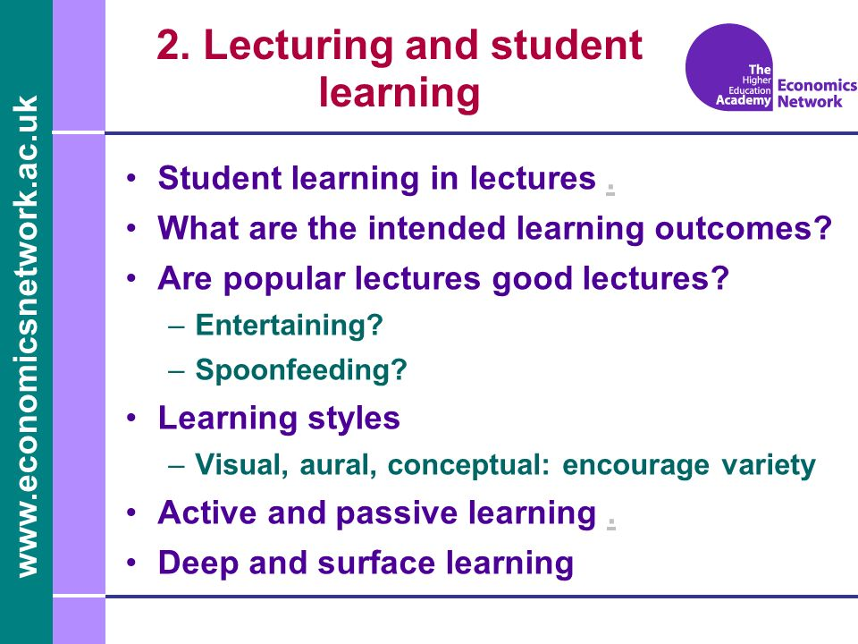 2. Lecturing and student learning