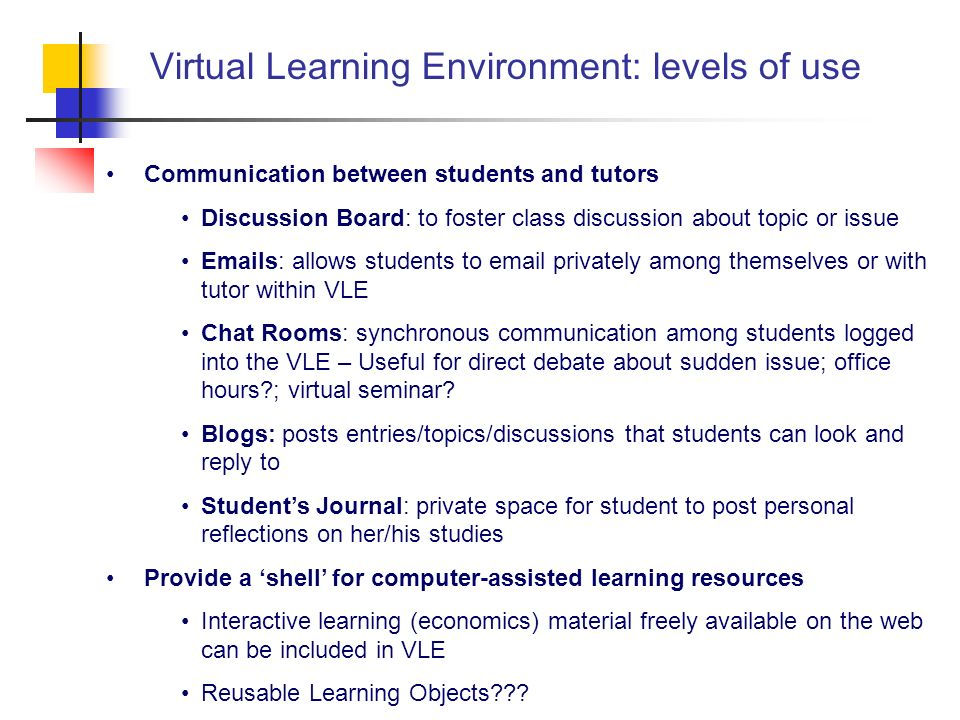 Virtual Learning Environment: levels of use